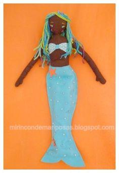 mi rincón de mariposas: Mi primera muñeca de fieltro, también una sirena Mermaid Dolls, Church Crafts, Sewing Dolls, Soft Dolls, Fabric Dolls, Sewing For Kids, Diy Projects To Try, Little People, Doll Patterns