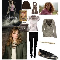 Hermione Granger, created by blair-granger on Polyvore Harry Potter Dress, Harry Potter Style, Harry Potter Outfits, Hermione Granger Outfits, Harry Styles Cute, Fandom Outfits, Character Outfits, Cute Outfits, My Style