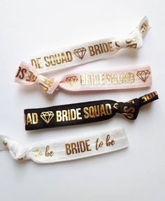 Bridal Party Gifts | Hen Parties | Bridal Showers | Bachelorette Bash  ♥ Bride Squad Hair Ties - They are soft + stretchy + double as a cute bracelet.  Free Bride to Be Hair Tie with every order!  ♥High- Quality OEKO- TEX Elastic - very comfortable to wear Hen Party Favours, Unique Party Favors, Brides Maid Proposal, Hair Tie Bracelet, Toddler Hair Bows, Bachelorette Party Favors, Cute Bracelets, Bridal Salon, Bridal Gifts