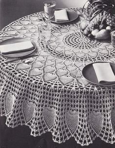 Pineapple Petals Round Tablecloth Crochet Pattern - PDF Instant Download    72 inches in diameter round tablecloth when made with Size 10