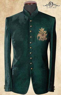 Buy Teal Green Velvet Zardosi Embroidered Jodhpuri Suits Online - Jodhpuri suits for men - Wedding Dresses Men Indian, Wedding Dress Suit, Wedding Suits, Indian Men Fashion, Mens Fashion Suits, Mens Suits, Mens Traditional Wear, Traditional Jacket, Style Costume Homme