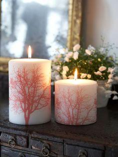branch pillar candle - deep orange