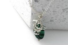KJ-003 Malachite Wire Wrapped Pendant - Kalitheo Silver Jewellery, Sterling Silver Jewelry, Beaded Jewelry, Handmade Jewelry, Boutique Design, Wire Wrapped Pendant, Malachite, Artisan Jewelry, Pendant Necklace