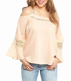 9681aa463bb1e7 Love this apricot color Jessica Simpson Plus Size Blaire Cold Shoulder Top!  Shoulder Sleeve,