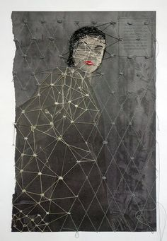 Embroidery on printed paper by Hinke Schreuders.