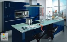 Kitchen:The Blue Colored For The Fresh Atmosphere In Your Kitchen Nice Dark Blue And Sleek Kitchen Cabinet Also Modern Appliences With White Decoration Kitchen Cabinets Orange, Blue Kitchen Interior, Blue Kitchen Paint, Blue Kitchen Decor, Kitchen Cabinet Design, Navy Kitchen, Best Kitchen Designs, Modern Kitchen Design, Kitchen Ideas