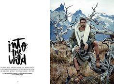 The Brazilian model wears rugged, mountain man style