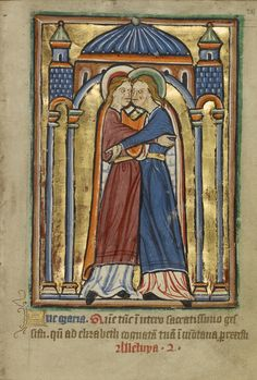 The Visitation; Unknown; York [perhaps] (illuminated), Northern, England; illumination about 1190; written about 1490; Tempera colors and gold leaf on parchment; Leaf: 11.9 x 17 cm (4 11/16 x 6 11/16 in.); Ms. 101, fol. 28