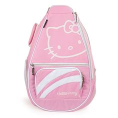 Hello Kitty Sports Premier Collection Tennis Backpack, Pink: With a spacious interior and additional exterior storage, Pretty Pink Hello Kitty bag features a padded shoulder strap, glittery accent panel. Tennis Bags, Tennis Gear, Pink Hello Kitty, Hello Kitty Items, Hello Kitty Backpacks, Racquet Sports, Sports Toys, Sports Equipment, Sling Backpack