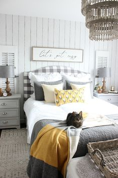 Home Remodeling Bedroom How to create a cozy bedroom for fall. Fall bedroom in white, gray, and mustard yellow and Let's Get Cozy Sign by Hymns and Verses. Stylish Bedroom, Modern Bedroom, Contemporary Bedroom, Mustard Bedroom, Mustard Yellow Bedrooms, Palette Design, Bedroom Lamps, Bedroom Lighting, Wall Lamps
