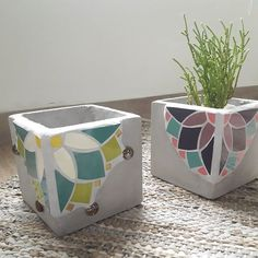 Mosaic Planters, Planter Pots, Mosaic Art, Flowers, Plants, Instagram, Painting, Vases, Craft