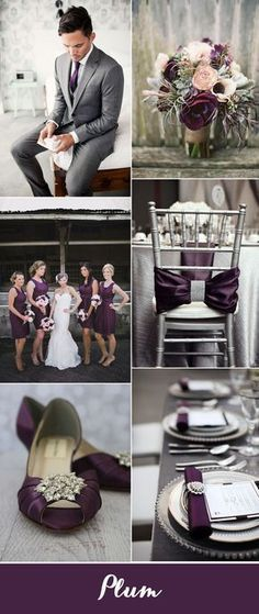 classic plum and silver wedding color ideas