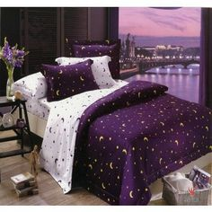 Celestial purple bedding - THIS is what I want! Purple Bedding Sets, Purple Bedrooms, Comforter Sets, Purple Bedspread, Teen Bedding Sets, King Comforter, Purple Home, Dream Rooms, Dream Bedroom
