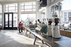 Jensen Architects Converts Automobile Showroom Into Blue Bottle Coffee Interior Design Magazine, Bakery Kitchen, Blue Bottle Coffee, Coffee Store, Farmhouse Remodel, Coffee Corner, Love Your Home, Cafe Interior, Shop Interiors