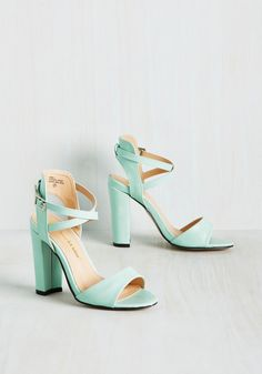 Flourishing Courage Heel - Mint, Solid, Daytime Party, Graduation, Pastel, Summer, Good, Chunky heel, Strappy, Green, Pastel, High, Faux Leather