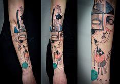 Les artistes d'Expanded Eye, Jade Tomlinson et Kev James, réalisent des tatouages de portraits surréalistes et proches du cubisme. Ils font aussi des œuvres similaires sur d'autres supports que la peau si vous voulez aller les voir sur leur site.