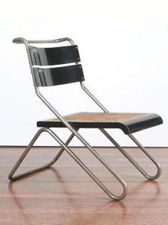 Erich Dieckmann; Chromed Tubular Steel, Ebonized Wood and Cane Chair for Cebaso, 1931.