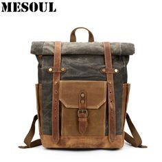 Unisex PU Leather Backpack Green Camouflage Fabric Print Womens Casual Daypack Mens Travel Sports Bag Boys College Bookbag