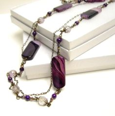 Purple agate necklace set by beadstreetgallery on Etsy