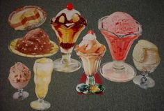 Vintage Lot of 8 Ice Cream Die Cut Paper Vintage Diner, Retro Diner, Vintage Food, John Jacob Astor, Diner Recipes, Die Cut Paper, Ice Cream Parlor, All Holidays, Vintage Recipes