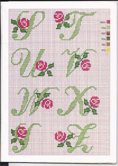 Alfabeto punto croce con le rose (4)