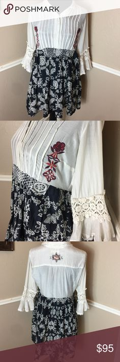 Sovereign Silk Embroidery Baby doll Lace 620 Preowned no stains no holes. 620 ballad of a high rev man. Made in India Celebrating yourselves Button down. 65% cotton 35% silk Anthropologie Dresses Midi