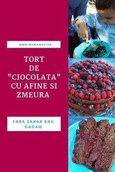 """Desi am preparat acest tort  de """"ciocolata"""" cu zmeura si afine pentru aniversarea celor 3 ani a puiul nostru, acesta  se potriveste de minune si pentru aniversarile de 1 sau 2 ani, fiindca nu contine zahar, indulcitori sau cacao. Baby Food Recipes, Sugar Free, Deserts, Baby Boy, Diet, Future, Drinks, Healthy, Cake"""