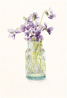 "Violets in Glass Bottle watercolor painting -- 4 x 6"" Print.via Etsy."