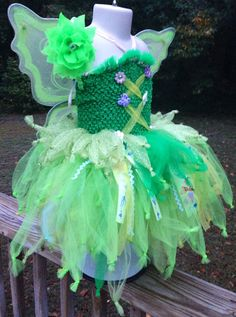 Tinkerbell tutu Costume with Matching Wings and Headband  on Etsy, $55.00