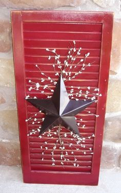 Reuse Old Shutters Ideas - Reuse Old Shutters Ideas You are in the right place about shutters repurposed halloween - Red Shutters, Wooden Shutters, Repurposed Shutters, Old Shutters Decor, Bedroom Shutters, House Shutters, Patriotic Crafts, Holiday Crafts, Holiday Decor