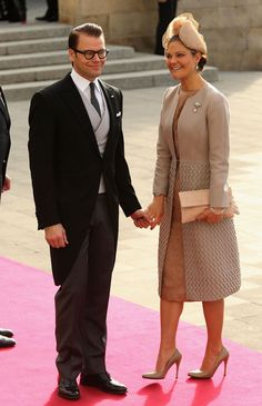 Prince Daniel and Crown Princess Victoria of Sweden arrive at the Notre-Dame Cathedral in Luxembourg; religious wedding of Guillaume, Hereditary Grand Duke of Luxembourg and ms Stephanie de Lannoy on October 20, 2012