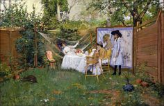"""""""Open Air Breakfast"""" (about 1888) by William Merritt Chase (American, 1849-1916). Although at first glance this scene seems to capture a fleeting moment of casual backyard relaxation, on closer examination it more strongly resembles a carefully arranged still life painting. His studio on Tenth Street in Manhattan was famously filled with such exotic objects and costumes, which often turned up in his Impressionist-inspired paintings. #AmericanImpressionism #Impressionism #art #painting"""