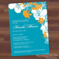 Bridal Shower Invitation - Tropical Summer - Engagement, Wedding, Birthday, Baby (DIY Printable) orange, teal, white. $15.00, via Etsy.