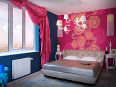 Дизайн спальни  -  Дизайн интерьера квартиры в стиле Поп-арт Энди Уорхола
