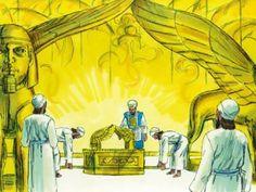 Salomo bouwt de tempel, 16 Bijbelplaten voor het digibord, kleuteridee , Bijbelles voor kleuters.