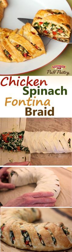 """Puff Pastry Chicken Spinach Fontina Braid Recipe. Serve this delicious recipe at your dinner party, potluck or gathering. Fresh veggies, cooked chicken, spinach and fontina cheese are enclosed in a flaky Puff Pastry """"braid"""" and baked until golden brown. Each slice delivers incredible flavor.  It's the perfect dinner recipe that will have everyone begging for seconds, or thirds."""