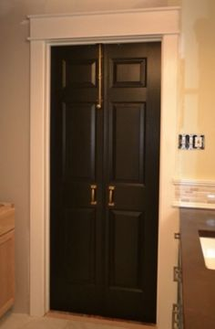 Bifold Doors Made Into Double Doors For Bathroom Entrance.