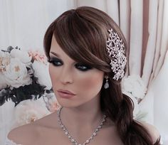 SALE Silver Vine Bridal Hair Clip Rhinestone by EleganceByKate
