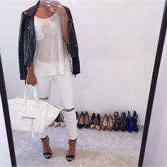 Image uploaded by c. Find images and videos about love, fashion and style on We Heart It - the app to get lost in what you love. White Jeans Outfit, All White Outfit, White Pants, Date Night Fashion, Winter Fashion, Spring Fashion, Looks Style, My Style, Vogue