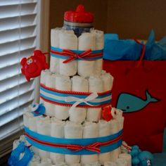 """""""Under the Sea"""" themed diaper cake"""
