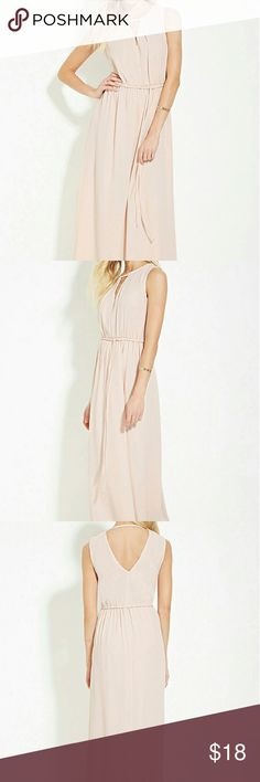 "Pale Pink Contemporary cutout maxi dress A woven maxi dress in a sleeveless design with subtle pleats framing the v-cutout at its neckline, a self tie belt at its elasticized waist, and a v-cutout back. -Shell & Lining: 100% polyester  - model is 5'7 and wearing a small  - full length 56.5"" - chest 36"" - waist 34"" Forever 21 Dresses Maxi"