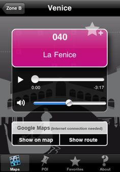 """Venice Touristic Audio Guide"" - Languages: English, French, German, Italian, Japanese, Spanish -  Let yourself be guided through the 50 most interesting places of Venice with your iPhone!"
