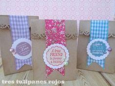 Gift Wrapping Inspiration : Great bags with ribbon Diy Arts And Crafts, Paper Crafts, Diy Crafts, Creative Gift Wrapping, Creative Gifts, Kraft Bag, World Crafts, Paper Gift Bags, Pretty Packaging