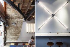 Reuben Hills Café by Herbert & Mason Studio, Sydney Australia Commercial Interior Design, Commercial Interiors, Trip The Light Fantastic, Surry Hills, Fluorescent Lamp, Built Environment, Architect Design, Sustainable Design, Lamp Design