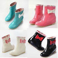 cute rain shoes | Women's Ankle Rain Boots Bowknot Low Heels Cute Rubber Fashion ...