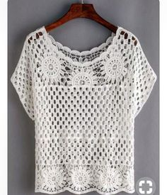 """""""Shop Hollow Out Crochet Top - White online. SheIn offers Hollow Out Crochet Top - White & more to fit your fashionable needs."""", """"We are a crochet sto Pull Crochet, Crochet Shirt, Crochet Jacket, Crochet Cardigan, Knit Crochet, Crochet Tops, White Crochet Top, Easy Crochet, Crochet Baby Blanket Sizes"""