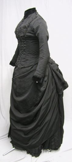 1880s Jet Beaded Bustle Gown | eBay. This would have been an appropriate ensemble for second-stage mourning.