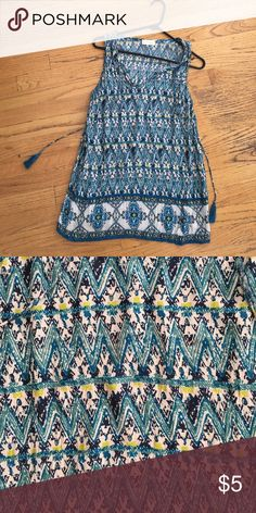 Lucy and Laurel Bohemian Top Sz S Lucy and Laurel Teal, green and yellow, excellent condition lucy and laurel Tops Camisoles