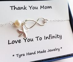 Mother infinity love bracelet,starfish bracelet,beach wedding,Mother jewelry,Mother of groom,Custom birthstone,Thank you card,greeting