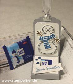 stampin up stempeltier snow friends es schneit schneemann snowman ritter sport verpackung tag etiketten stanze weihnachten winter